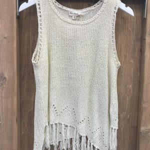Ivory Tassel Knit Top