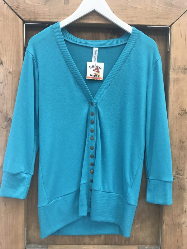 Turquoise Blue Snap Button Cardi