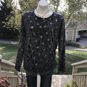 Blue Leopard with Gold Sweater