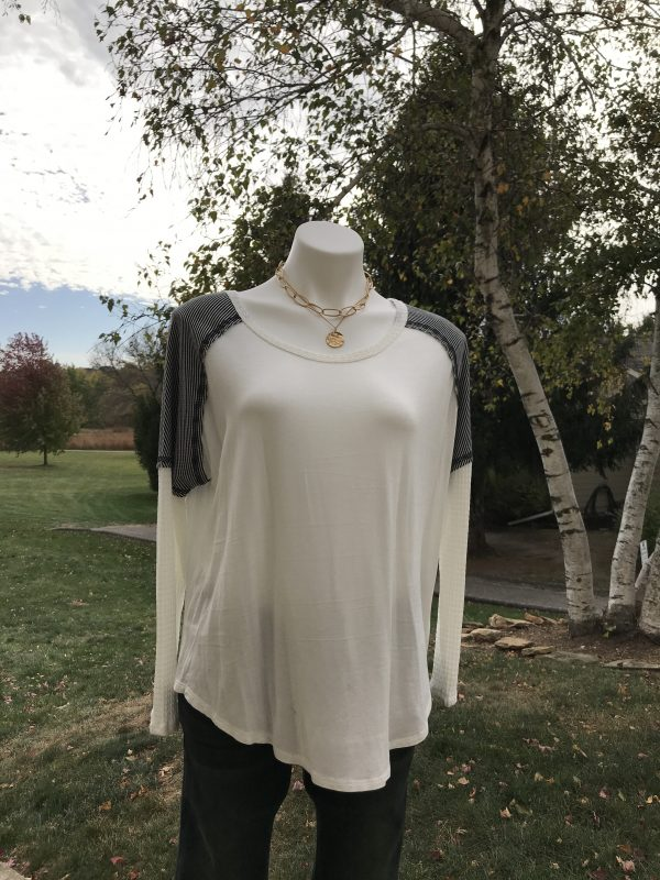 Strip Shoulder Long Sleeve Top