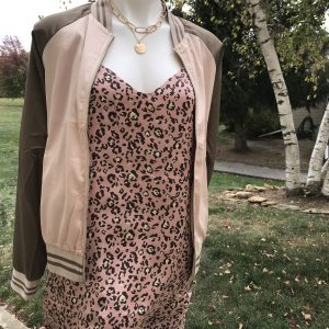 Pink and Olive Bomber Jacket