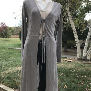 Kori Charcoal Long Cardi w/ties