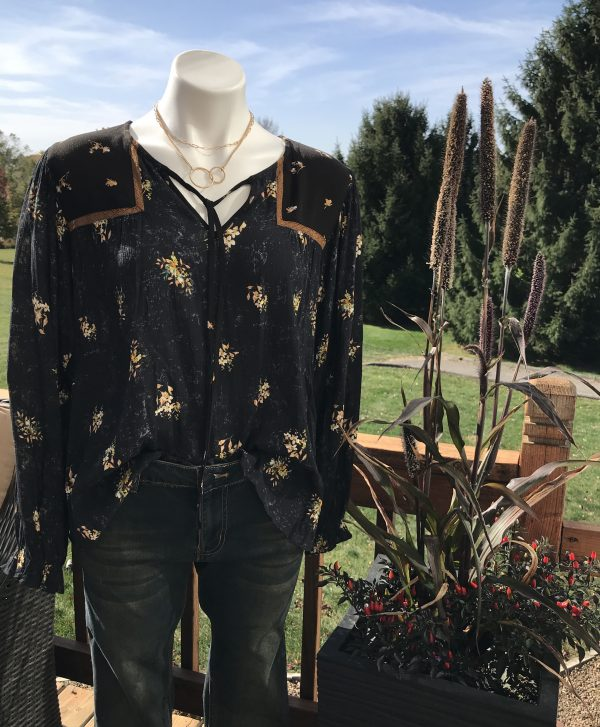Black & Gold Peasant Blouse