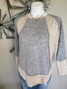 Grey & Taupe Knit top w/ Suede Panels