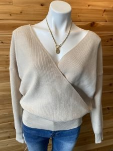 Latte Criss Cross Knitted Sweater Top