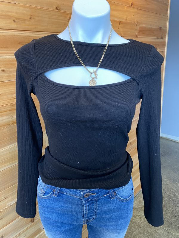 Black Cut Out Knitted Top