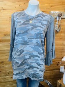 Acid Wash Blue Camo Top