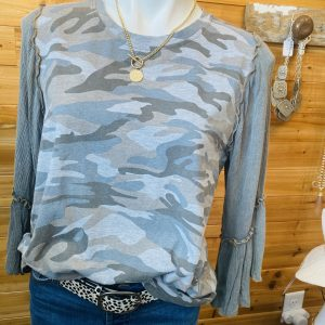 Acid Wash Grey Camo Top