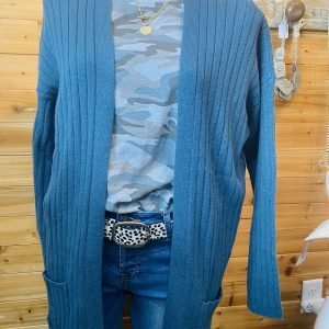 Teal Blue Sweater Cardigan