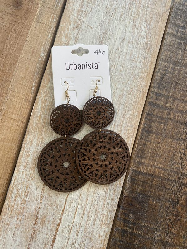 Mandala double wood earrings