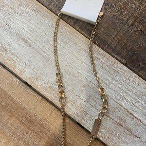 Gold Metal Bar Pendant Necklace