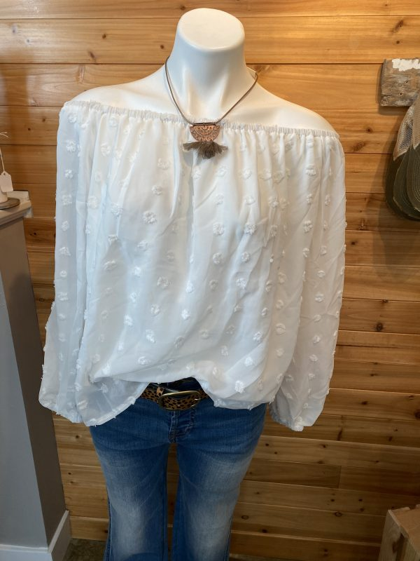 White Off Shoulder Dotted Top