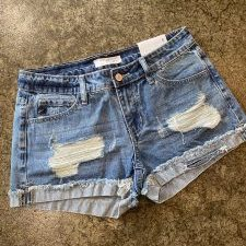 KanCan Mid Rise Distressed Shorts